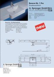 Technische Daten Waschtischmodell RENOVA Nr. 1 Pro - Varicor