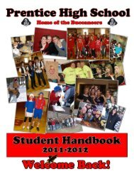 Prentice High School Handbook 2011-2012 - Prentice School District