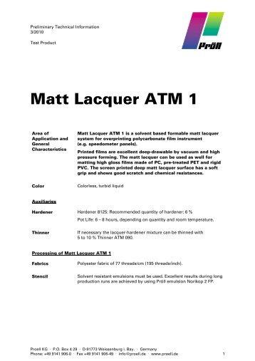 Matt Lacquer ATM 1 - Pröll KG
