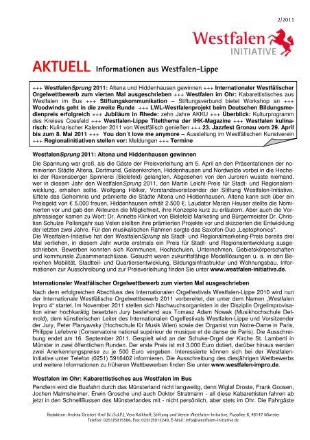 AKTUELL Informationen aus Westfalen-Lippe - Westfalen Initiative