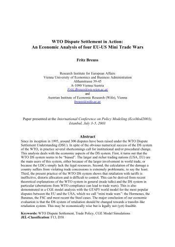 WTO Dispute Settlement in Action: An Economic ... - Fritz Breuss - Wifo