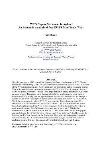 WTO Dispute Settlement in Action: An Economic ... - Fritz Breuss - Wifo