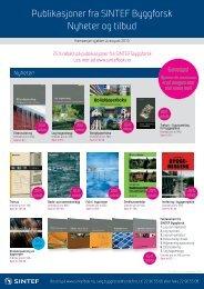 Publikasjoner fra SINTEF Byggforsk Nyheter og tilbud