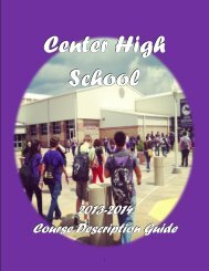 CHS Course Description Guide 2013-2014 - Center ISD