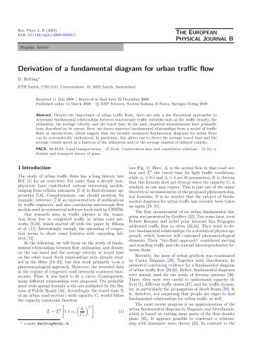 Derivation of a fundamental diagram for urban traffic flow