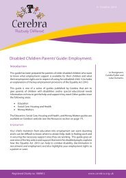 Disabled Children Parents' Guide: Employment. - Cerebra