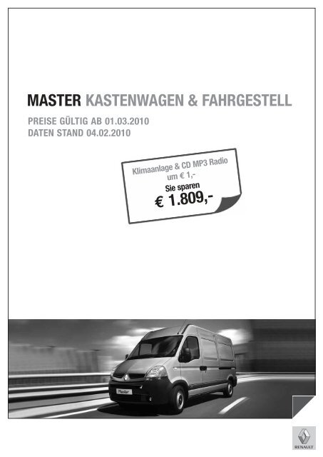 MASTER KASTENWAGEN & FAHRGESTELL - Renault