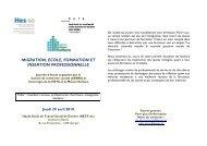 migration, ecole, formation et insertion professionnelle - Reiso