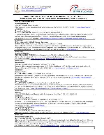 MANIFESTAZIONI DAL 15 AL 24 FEBBRAIO 2013 - Hotel ...