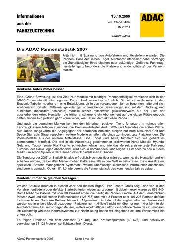 ADAC Pannenstatistik 2007