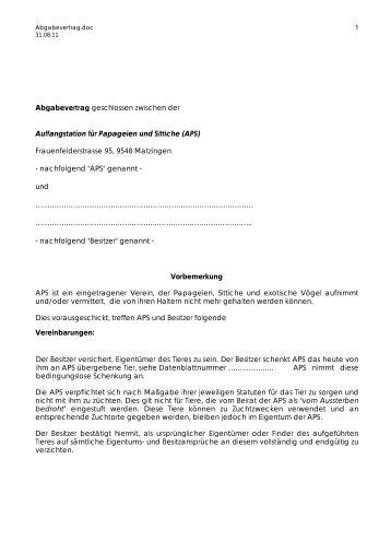 Abgabevertrag - Auffangstation für Papageien und Sittiche