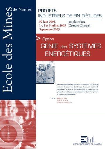 GÉNIE des SYSTÈMES ÉNERGÉTIQUES - Ecole des mines de ...