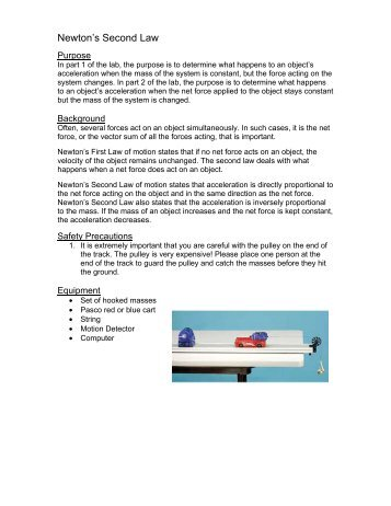 lab 5 newton s laws Lab 5newton's third law and momentum goals •to explore the behavior of forces acting between two objects when they touch one another or interact with one another by some other means, such as a light string.