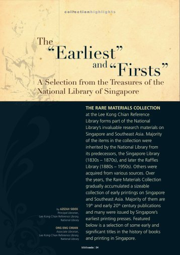 """Earliest"" ""Firsts"" - National Library Singapore"