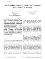 Non - Perturbing Cavitation Detection / Monitoring in Sonochemical ...