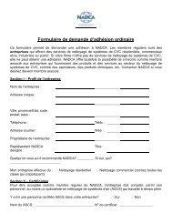 Formulaire de demande d'adhésion ordinaire - NADCA