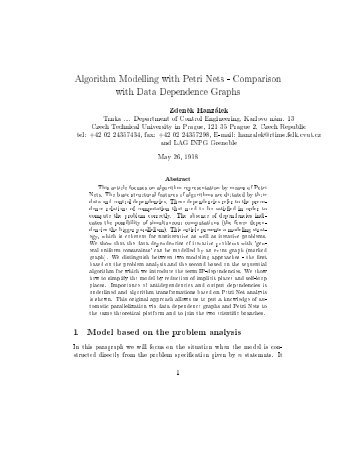 Algorithm Modelling with Petri Nets - Czech Technical University in ...