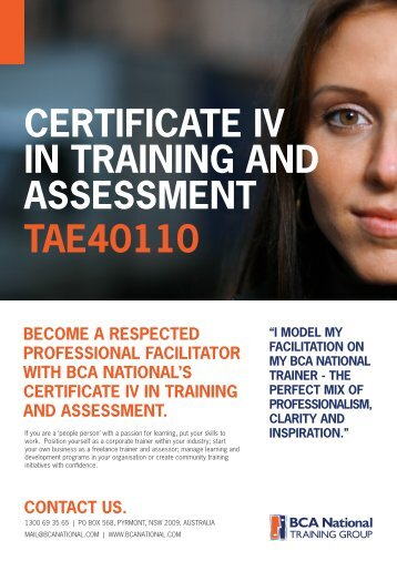 CERTIFICATE IV IN TRAINING AND ASSESSMENT TAE40110