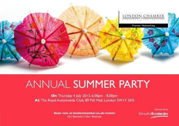 annual summer party - London Chamber of Commerce and Industry