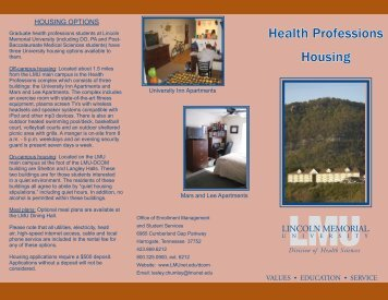 Health Professions Housing Brochure - Lincoln Memorial University