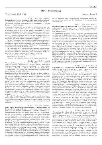 DD 7: Postersitzung - DPG-Verhandlungen