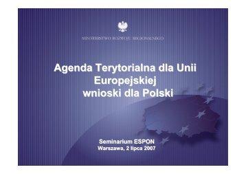 Agenda Terytorialna dla Unii Europejskiej wnioski dla Polski