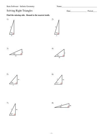 Printables Solving Right Triangles Worksheet 9 solving right triangles kuta software triangles