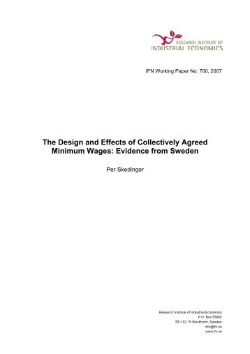 The Design and Effects of Collectively Agreed Minimum Wages ...