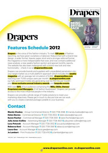 Features Schedule 2012 - Drapers