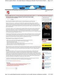 Page 1 of 3 Global Logistics Media - IAS Adds Business Intelligence ...