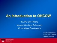 An Introduction to OHCOW - CUPE Ontario
