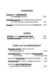 VORSPEISEN SUPPEN FISCH und HAUSMANNSKOST - Looshaus