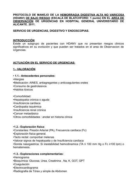 HEMORRAGIA DIGESTIVA ALTA-Observación-UCE-BLATCHFORD