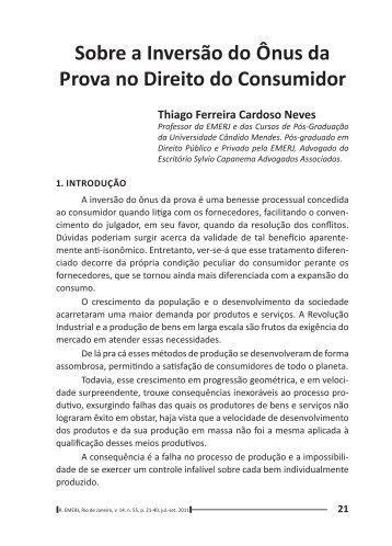 Sobre a Inversão do Ônus da Prova no Direito do Consumidor - Emerj