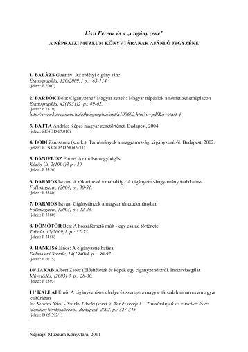 """Liszt Ferenc és a """"czigány zene"""" - Néprajzi Múzeum"""