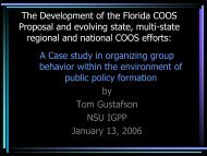The Development of the Florida COOS Proposal and evolving state ...