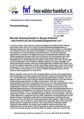 Marode Abwasserkanäle in Bergen-Enkheim? - Freie Wähler Frankfurt