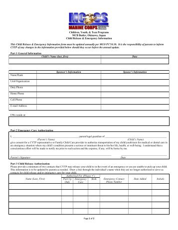 Parent Agreement And Emergency Contact Form Edwardsville