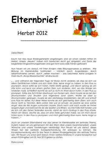 Elternbrief Herbst 2012 - Familienzentrum St. Martin Benninghausen