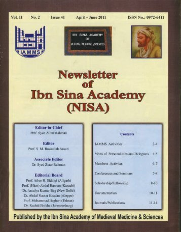NISA 2011 - Ibn Sina Academy of Medieval Medicine and Science