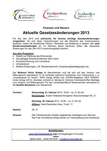 Aktuelle Gesetzesänderungen 2013 - Stadtsportbund Wolfsburg e.V. ...