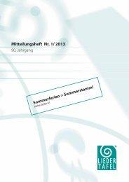 Heft 1 - 2013 - Basler Liedertafel
