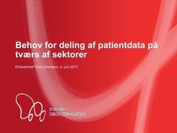 Behov for deling af patientdata på tværs af sektorer - Partnerskabet ...