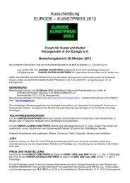 Ausschreibung EURODE – KUNSTPREIS 2012 - Forum für Kunst und ...