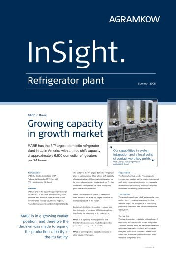 Growing capacity in growth market - Agramkow Fluid Systems A/S