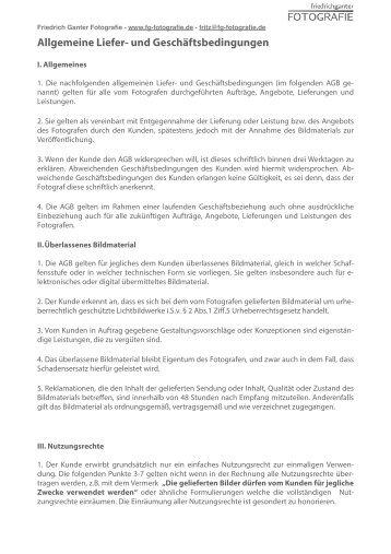 Allgemeine Geschäftsbedingungen (AGB) als PDF - Friedrich ...