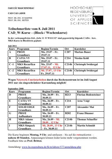 Teilnehmerliste vom 8. Juli 2011 CAD_W-Kurse – (Block ...