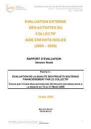 Partie III : Qualité des projets, evaluation collectif AEI - Groupe URD