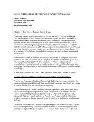 1 ISSUES IN BIOENERGY DEVELOPMENT IN WESTERN CANADA ...