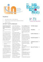 Headlines In this issue: LIN 2011 Call for Abstracts - Update
